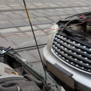 MOSCOW - MAR 19: Infiniti fx35 jumpstart other car to start the